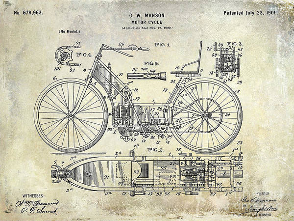 Victory Motorcycle Photograph - 1901 Motorcycle Patent Drawing by Jon Neidert