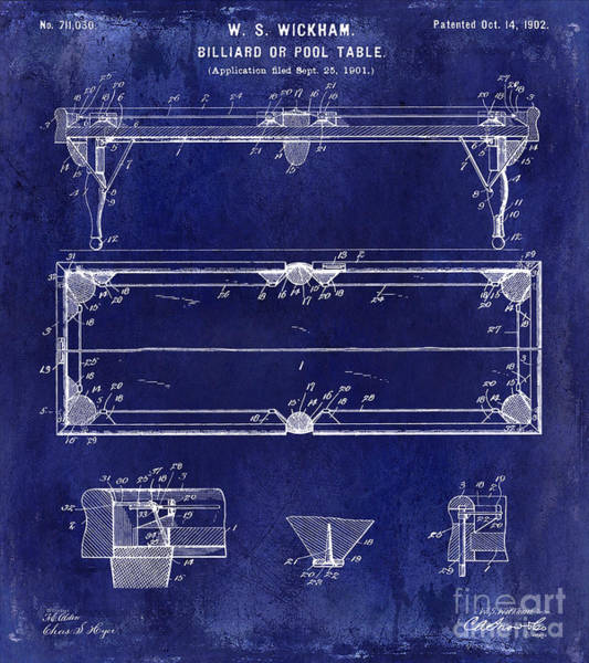 Pool Table Photograph - 1902 Billiard Table Patent Drawing Blue by Jon Neidert