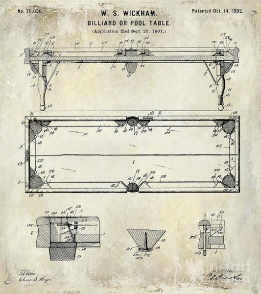 Pool Table Photograph - 1902 Billiard Table Patent Drawing by Jon Neidert