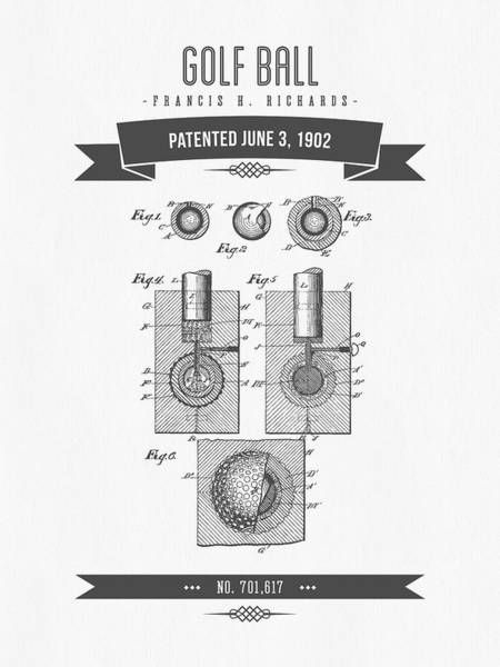 Wall Art - Digital Art - 1902 Golf Ball Patent Drawing - Retro Gray by Aged Pixel