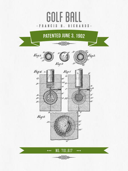 Wall Art - Digital Art - 1902 Golf Ball Patent Drawing - Retro Green by Aged Pixel