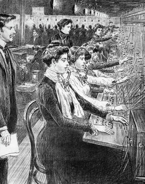 Dial Painting - 1902 Illustration Women Switchboard by Vintage Images