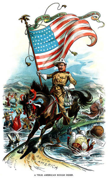Political Cartoon Painting - 1902 Rough Rider Teddy Roosevelt by Historic Image