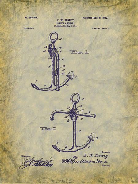 Digital Art - 1902 Ship's Anchor Patent Art by Barry Jones