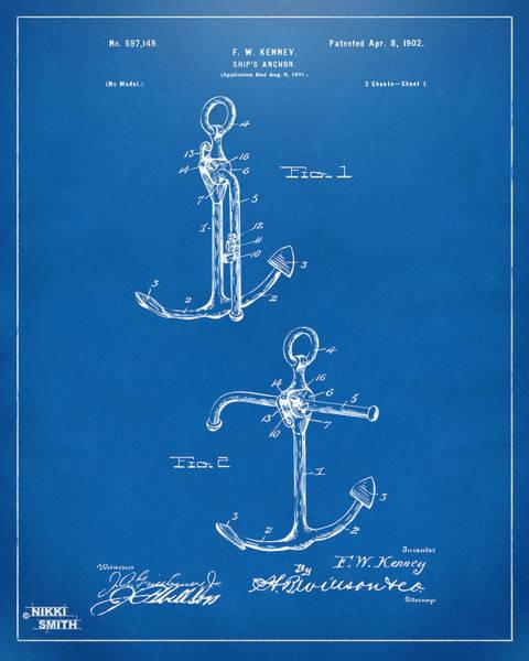 Sailors Digital Art - 1902 Ships Anchor Patent Artwork - Blueprint by Nikki Marie Smith