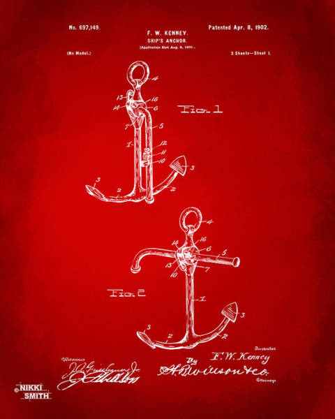 Anchor Digital Art - 1902 Ships Anchor Patent Artwork - Red by Nikki Marie Smith