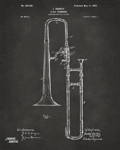 Marching Digital Art - 1902 Slide Trombone Patent Artwork - Gray by Nikki Marie Smith