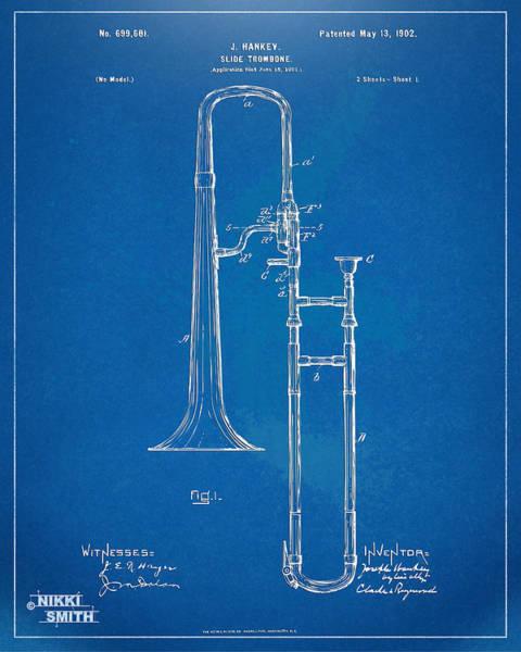 Marching Digital Art - 1902 Slide Trombone Patent Blueprint by Nikki Marie Smith