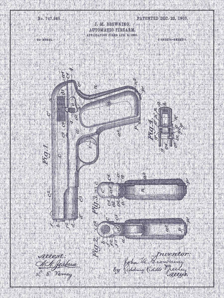 Photograph - 1903 Browning Automatic Pistol Patent by Barry Jones