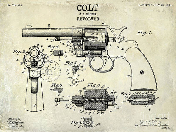 Colt Photograph - 1903 Colt Revolver Patent Drawing by Jon Neidert