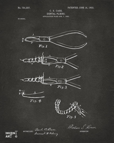 Digital Art - 1903 Dental Pliers Patent Gray by Nikki Marie Smith