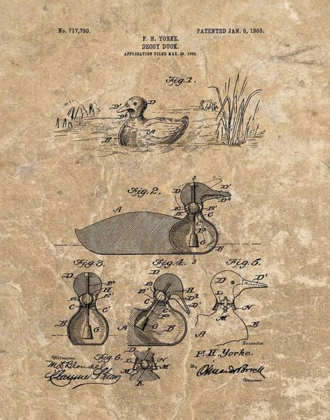 Duck Hunting Drawing - 1903 Duck Decoy Patent by Dan Sproul