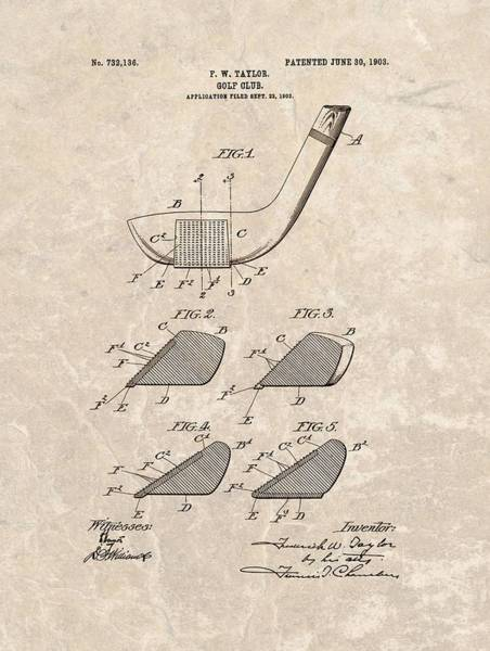 Wall Art - Drawing - 1903 Golf Club Patent by Dan Sproul