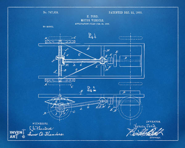 Digital Art - 1903 Henry Ford Model T Patent Blueprint by Nikki Marie Smith