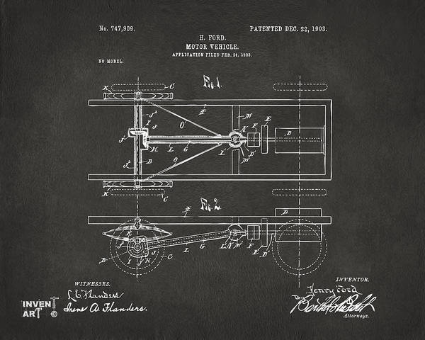Digital Art - 1903 Henry Ford Model T Patent Gray by Nikki Marie Smith