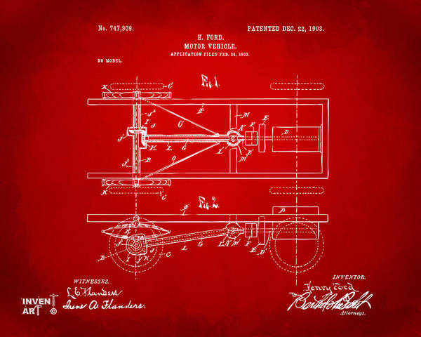 Digital Art - 1903 Henry Ford Model T Patent Red by Nikki Marie Smith