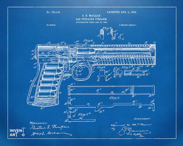 Schematic Wall Art - Digital Art - 1903 Mcclean Pistol Patent Artwork - Blueprint by Nikki Marie Smith