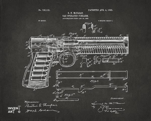 Wall Art - Digital Art - 1903 Mcclean Pistol Patent Artwork - Gray by Nikki Marie Smith