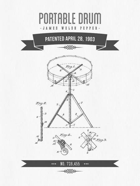 Patent Drawing - 1903 Portable Drum Patent Drawing by Aged Pixel