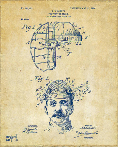 Wall Art - Digital Art - 1904 Baseball Catchers Mask Patent Artwork - Vintage by Nikki Marie Smith
