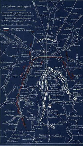 Gettysburg Address Wall Art - Digital Art - 1904 Gettysburg Blueprint by Patricia Lintner