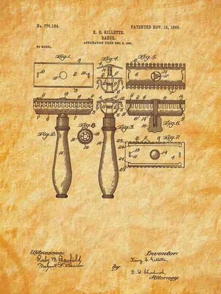 Digital Art - 1904 Gillette Razor Patent Art by Barry Jones