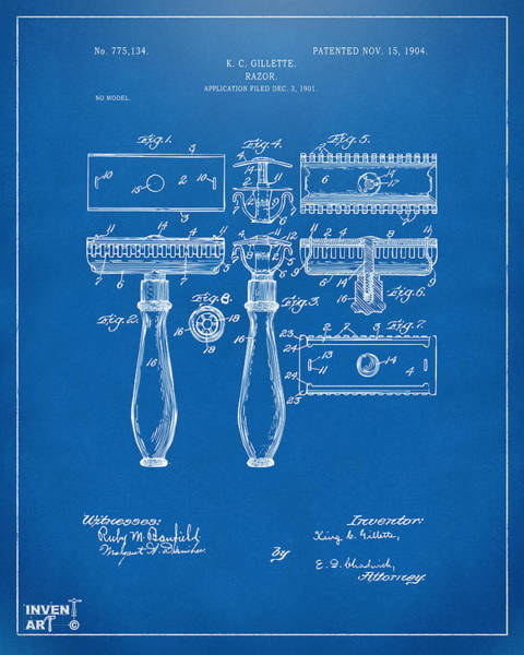 Digital Art - 1904 Gillette Razor Patent Artwork Blueprint by Nikki Marie Smith