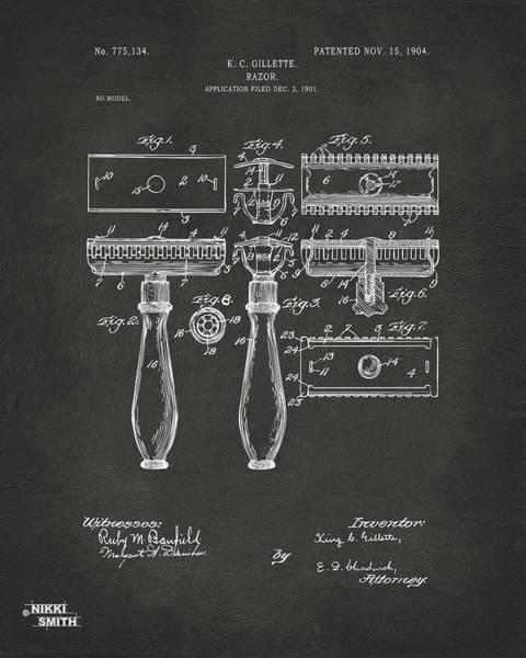Wall Art - Digital Art - 1904 Gillette Razor Patent Artwork - Gray by Nikki Marie Smith