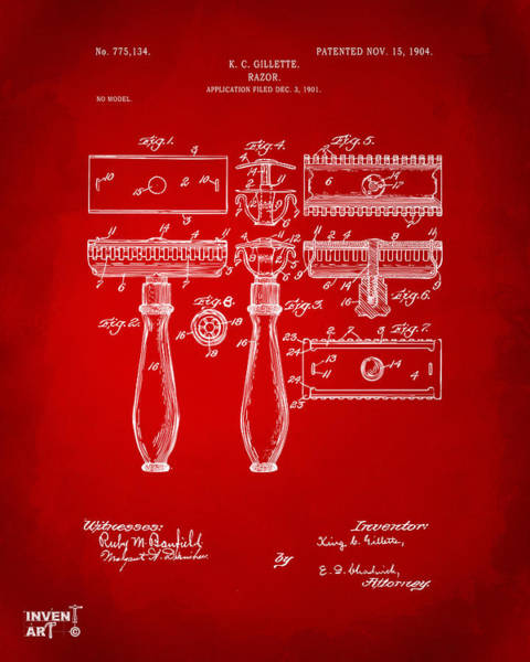 Digital Art - 1904 Gillette Razor Patent Artwork Red by Nikki Marie Smith