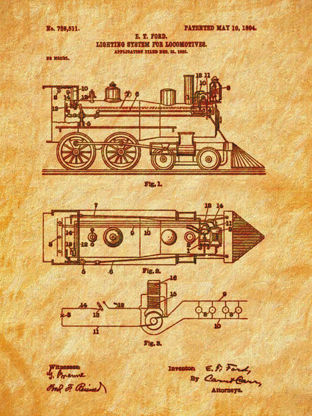 Photograph - 1904 Locomotive Patent Art-2 by Barry Jones