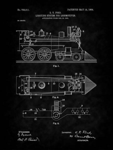 Digital Art - 1904 Locomotive Patent Art-bk by Barry Jones