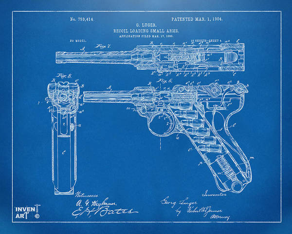 Armed Digital Art - 1904 Luger Recoil Loading Small Arms Patent - Blueprint by Nikki Marie Smith