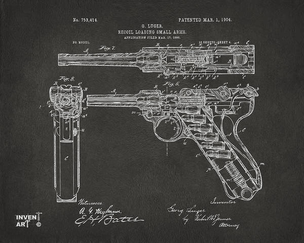 Arms Digital Art - 1904 Luger Recoil Loading Small Arms Patent - Gray by Nikki Marie Smith