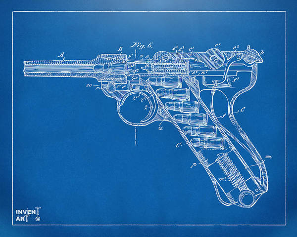 Armed Digital Art - 1904 Luger Recoil Loading Small Arms Patent Minimal - Blueprint by Nikki Marie Smith