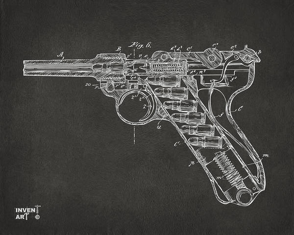 Armed Digital Art - 1904 Luger Recoil Loading Small Arms Patent Minimal - Gray by Nikki Marie Smith