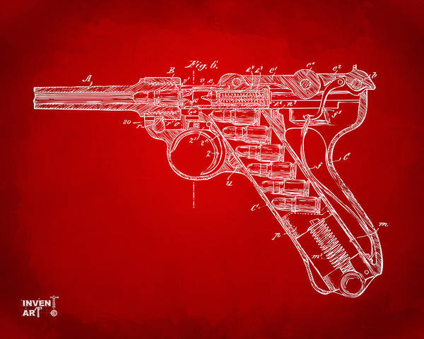 Armed Digital Art - 1904 Luger Recoil Loading Small Arms Patent Minimal - Red by Nikki Marie Smith