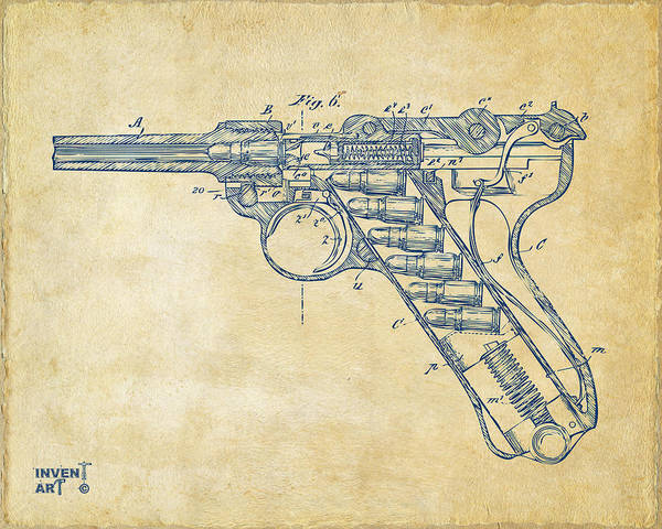 Armed Digital Art - 1904 Luger Recoil Loading Small Arms Patent Minimal - Vintage by Nikki Marie Smith