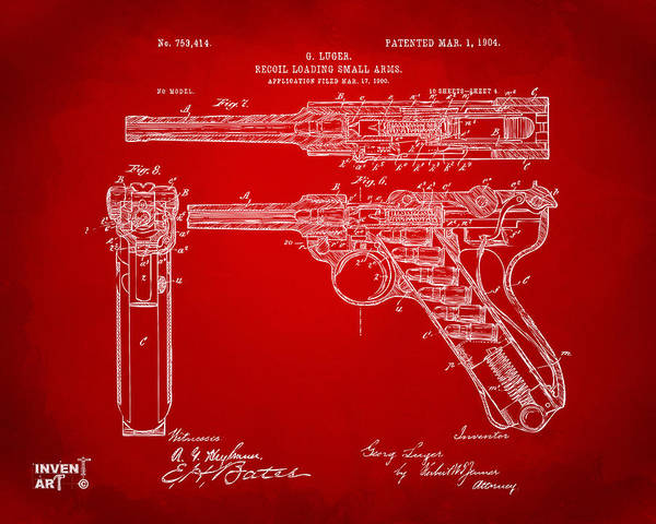 Armed Digital Art - 1904 Luger Recoil Loading Small Arms Patent - Red by Nikki Marie Smith