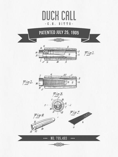 Hunt Digital Art - 1905 Duck Call Instrument Patent Drawing by Aged Pixel