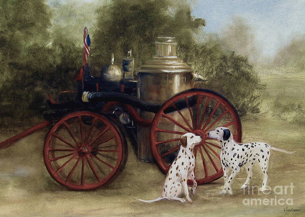 Wall Art - Painting - 1905 Firehouse Dogs by Stella Violano