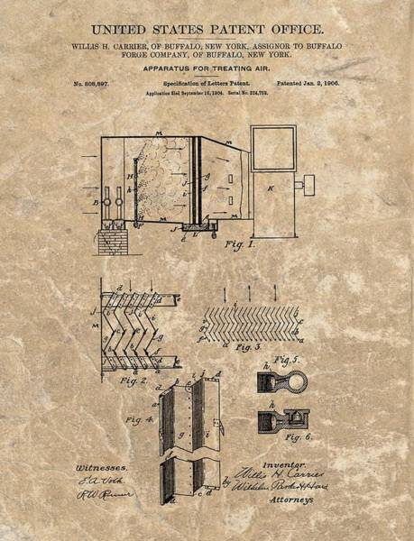Patent Mixed Media - 1906 Air Conditioner Patent by Dan Sproul