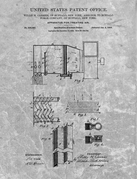 Drawing - 1906 Air Conditioning Unit Patent by Dan Sproul