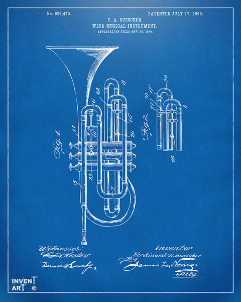 Digital Art - 1906 Brass Wind Instrument Patent Artwork Blueprint by Nikki Marie Smith