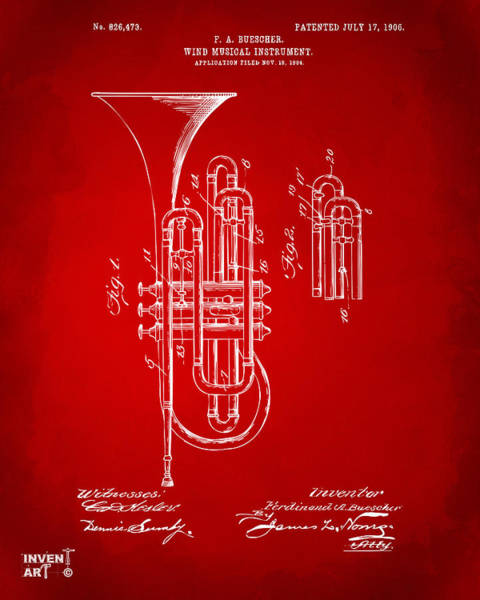 Digital Art - 1906 Brass Wind Instrument Patent Artwork Red by Nikki Marie Smith