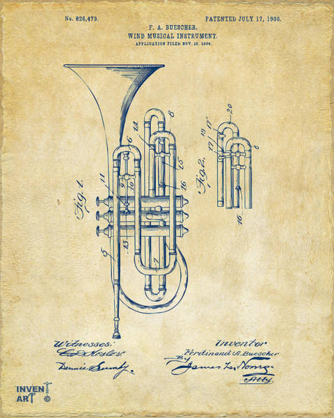 Digital Art - 1906 Brass Wind Instrument Patent Artwork Vintage by Nikki Marie Smith