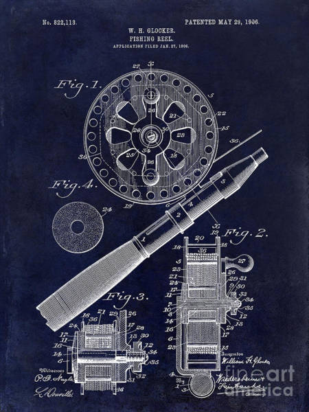 Cast Photograph - 1906 Fishing Reel Patent Drawing Blue by Jon Neidert