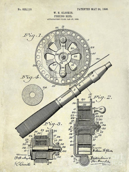 Bait Wall Art - Photograph - 1906 Fishing Reel Patent Drawing by Jon Neidert