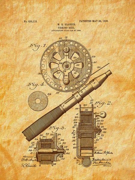 Digital Art - 1906 Glocker Fishing Reel Patent by Barry Jones