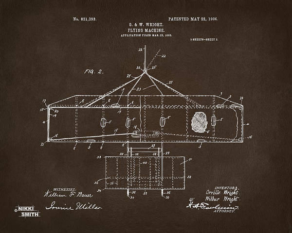 Digital Art - 1906 Wright Brothers Airplane Patent Espresso by Nikki Marie Smith