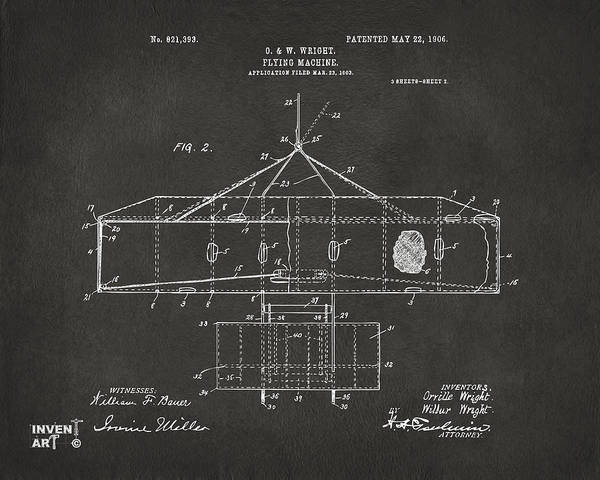Digital Art - 1906 Wright Brothers Airplane Patent Gray by Nikki Marie Smith